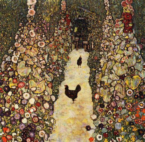fuckyeah-chickens:  Garden Path with Chickens // Gustav Klimt