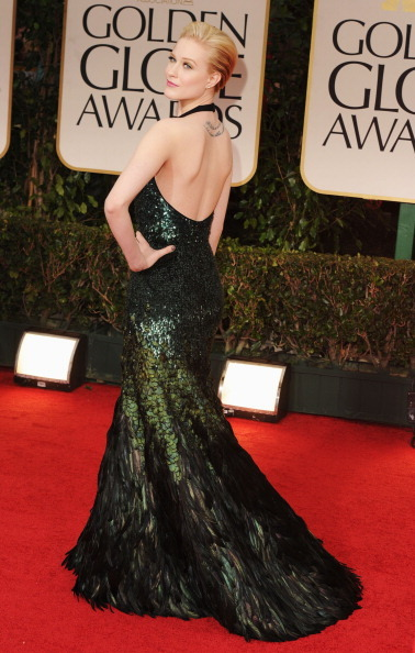 Evan Rachel Wood - 2012 Golden Globes  Like a beautiful lady peacock!