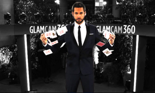 "Zachary Levi at the Golden Globes 2012 Putting on his ""I'm a serious magician and have accidentally turned myself orange… or WAS it accidental???"" face. ;-) I love this guy, but dang, dude, is it tan in a can or what??"
