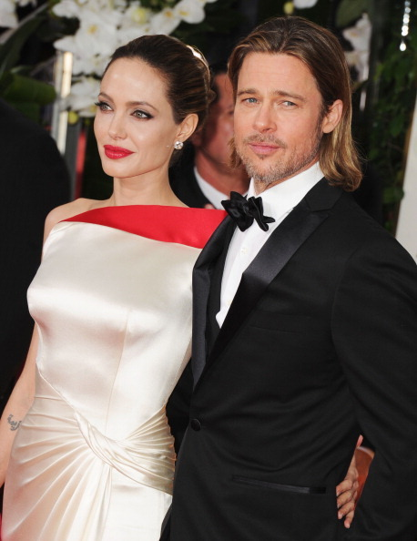 suicideblonde:  Angelina Jolie and Brad Pitt - 2012 Golden Globes  Like the gods descending from the heavens!  So beautiful!  Oh, so beautiful!