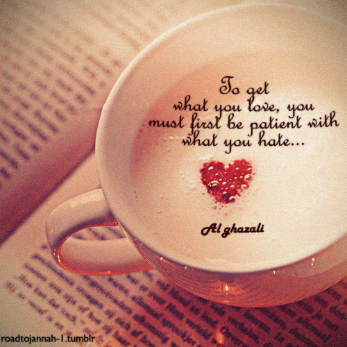 To get what you love, you must first be patient with what you have… (Al-Ghazali) #islam