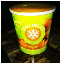 tonight's snack! mango ciao bella sorbet. enjoying this and re-watching skins. perfect night.