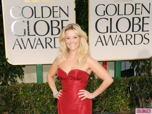 Reese Witherspoon is smiley as ever and ravishing in red Zac Posen.