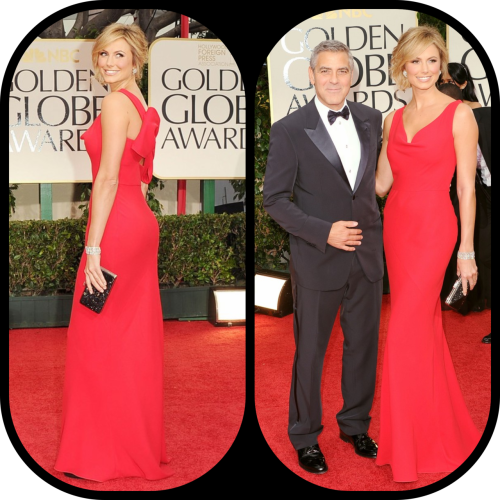 A stunning couple George and Stacy #eredcarpet #goldenglobes