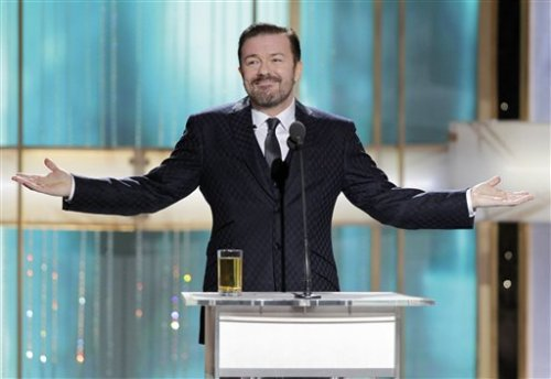 "Ricky Gervais took on Justin Bieber's recent paternity troubles: ""The only way that he could have impregnated a girl is if he borrowed one of Martha Stewart's turkey basters."""