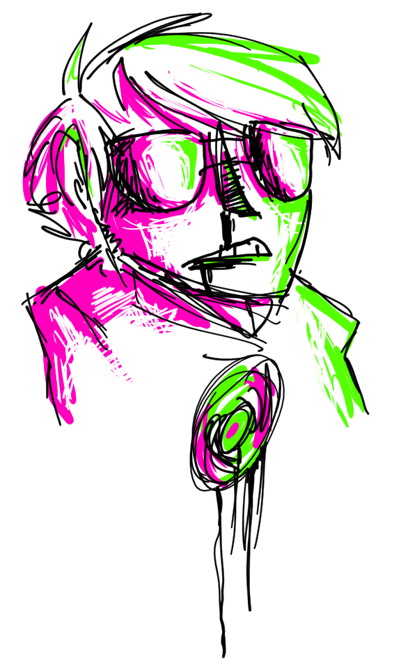 i traced a drawing i did on my tablet and added pink and green i love these colors kjdhjkh