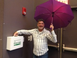 "When we asked HPT 164 director TonyBear if the umbrella indoors was a little much, he replied ""Better Safe than Sari."""