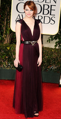 Emma Stone in a romantic but edgy Lanvin gown at the Golden Globes. We love the colors and the cap sleeves, but do we like the eagle?