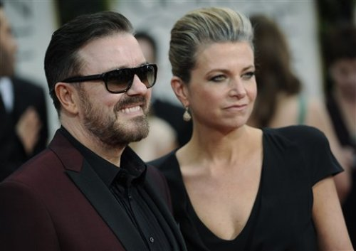 "Ricky made a crack about Johnny Depp's film with Angelina … again! Gervais: ""Have you seen 'The Tourist' yet?"" Depp: ""Uhhh … no."" Depp: ""Oh boy. He's fun."""