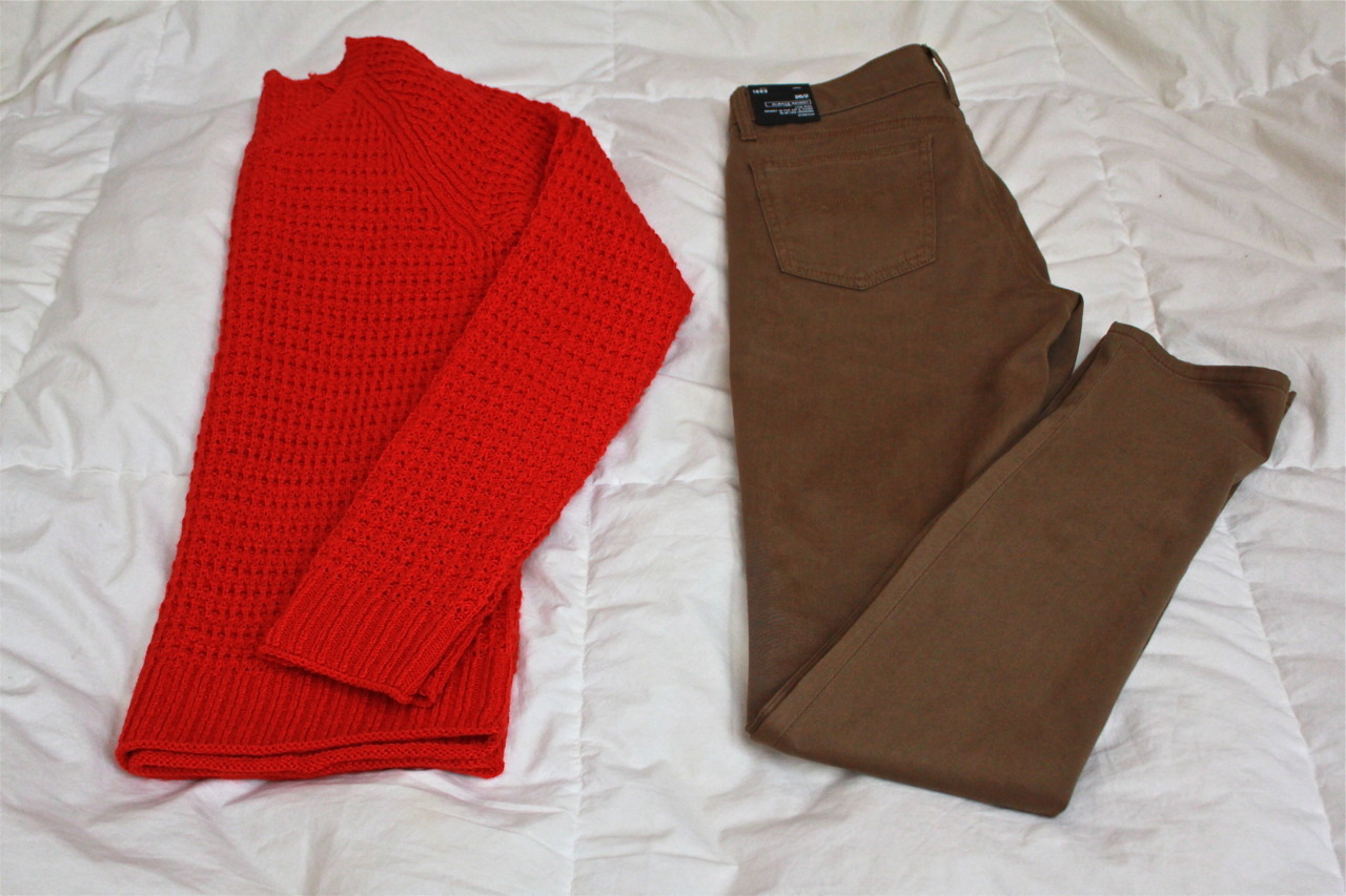 Gap: SALES! red waffle knit: $8 always skinny: $16