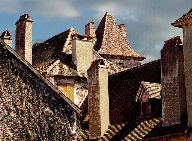 | ♕ |  Carennac - old roofs and chimneys  | by © Howard Somerville