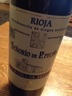 "2010 Senorio de P. Pecina Cosecha - This is my favorite wine I've tried so far this year.  Smooth like the other tempranillo I tried but with a little more ""bite"" to it. I'll learn what that bite is by the end of the year!"