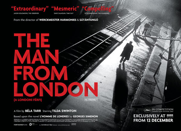 Tonight's feature… The Man From London (A Londoni férfi) A 2007 film adaptation, by Hungarian director Béla Tarr, of the 1943 French language novel L'Homme de Londres by Belgian writer Georges Simenon.  The cinematography is very well done.  If you're a film noir fan, this modern addition to the genre is not to be missed.