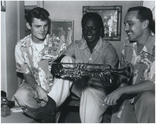 Chet Baker with Miles Davis and Rolf Erickson in Los Angeles CA, 1952 (photo by Ray Avery)