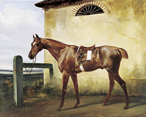 Vernet, Horace (1789-1863) - 1828 A Saddled Race Horse Tied to a Fence (Private Collection) by RasMarley on Flickr.