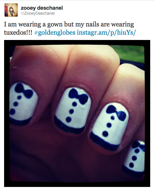 fuckyeahnailart:  Zooey Deschanel shared a photo of her Golden Globes nails tonight!  I want her to go away.