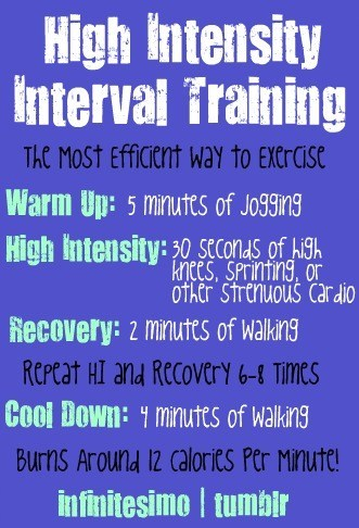 Beginners: this is a great way to start High Intensity Interval Training if you're looking to do so! HIIT burns more calories in the long run and besides circuit training, it's a great way to burn tons of calories in a shorter time! If you're looking for something new, give HIIT a try! :)