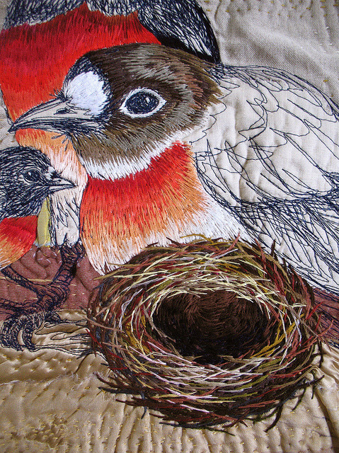 Tara Badcock PARIS+TASMANIA-EN FAMILLE wall piece, May 2011 detail of robins and nest by Tara Badcock on Flickr.Birds and nest.