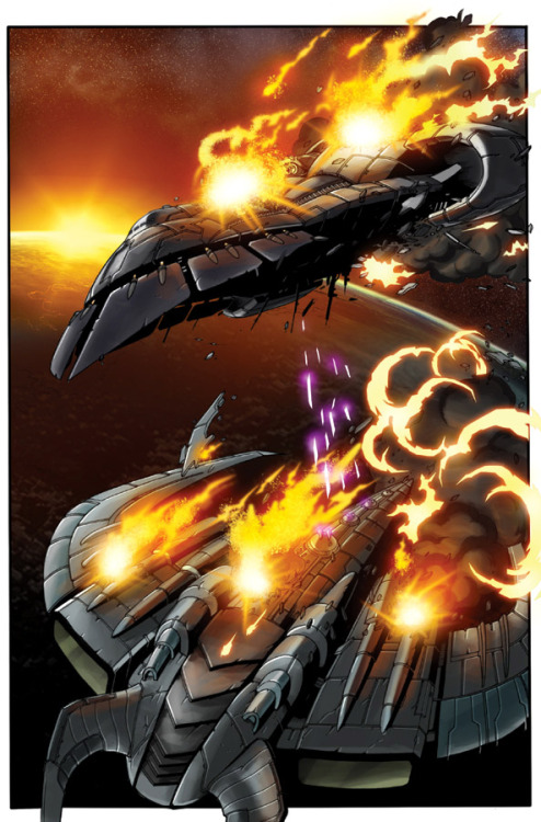 The Axalon and the Darksyde exchange fire.  From Beast Wars: The Gathering #1.  Lines by Don Figueroa, colors by Josh Burcham.