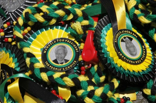 Memorabilia of former South African President Nelson Mandela was on sale in Bloemfontein in honour of the African National Congress's centenary. Thousands of supporters attended rallies to celebrate Africa's oldest liberation movement. See the 'Week in Pictures' here.