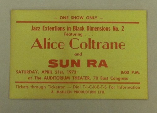 "blackqueerdo:  liberationartandcultureworks:  Alice Coltrane and Sun Ra. ""Jazz Extensions in Black Dimensions""? You KNOW that shit was dope.  crying."