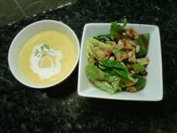 Butternut squash corn chowder with a pomegranate&avocado spinach salad.