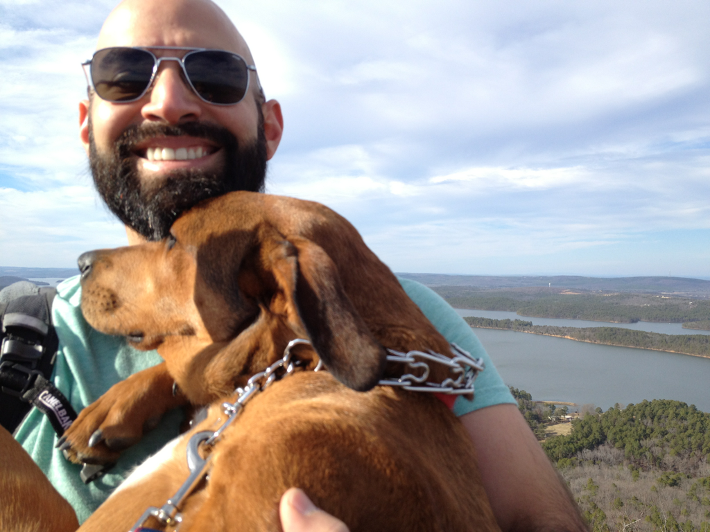 Milo and I at the top of Pinnacle Mountain during today's hike, 700 feet up!