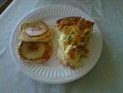 Broccoli & potato cheddar quiche with maple cinnamon pear pancakes. Saturday brunch.