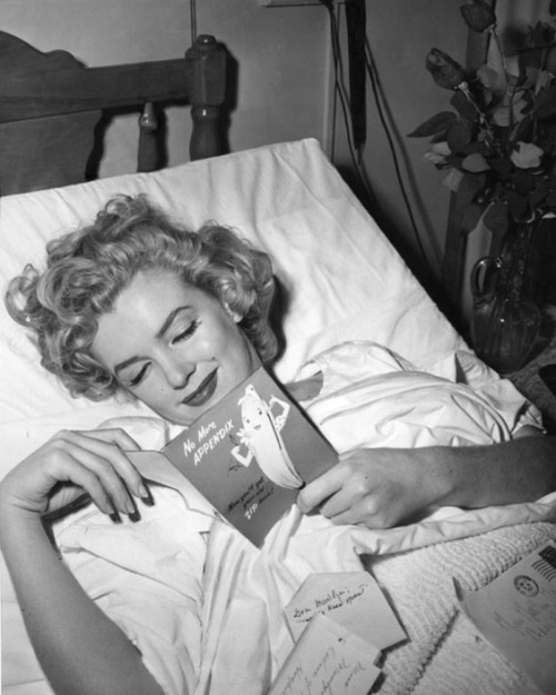 historiful:  No more appendix - actress Marilyn Monroe (1926-1962), date unknown.  April 1952 according to lettersofnote.com where I saw this.