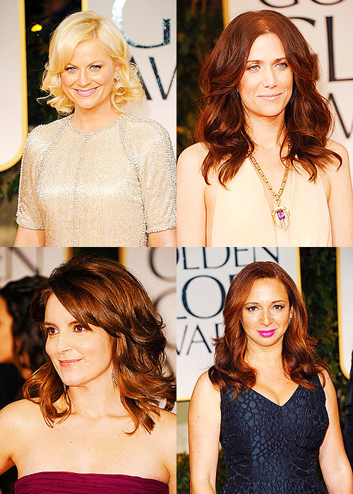 Amy Poehler, Kristen Wiig, Tina Fey, and Maya Rudolph at the 2012 Golden Globes