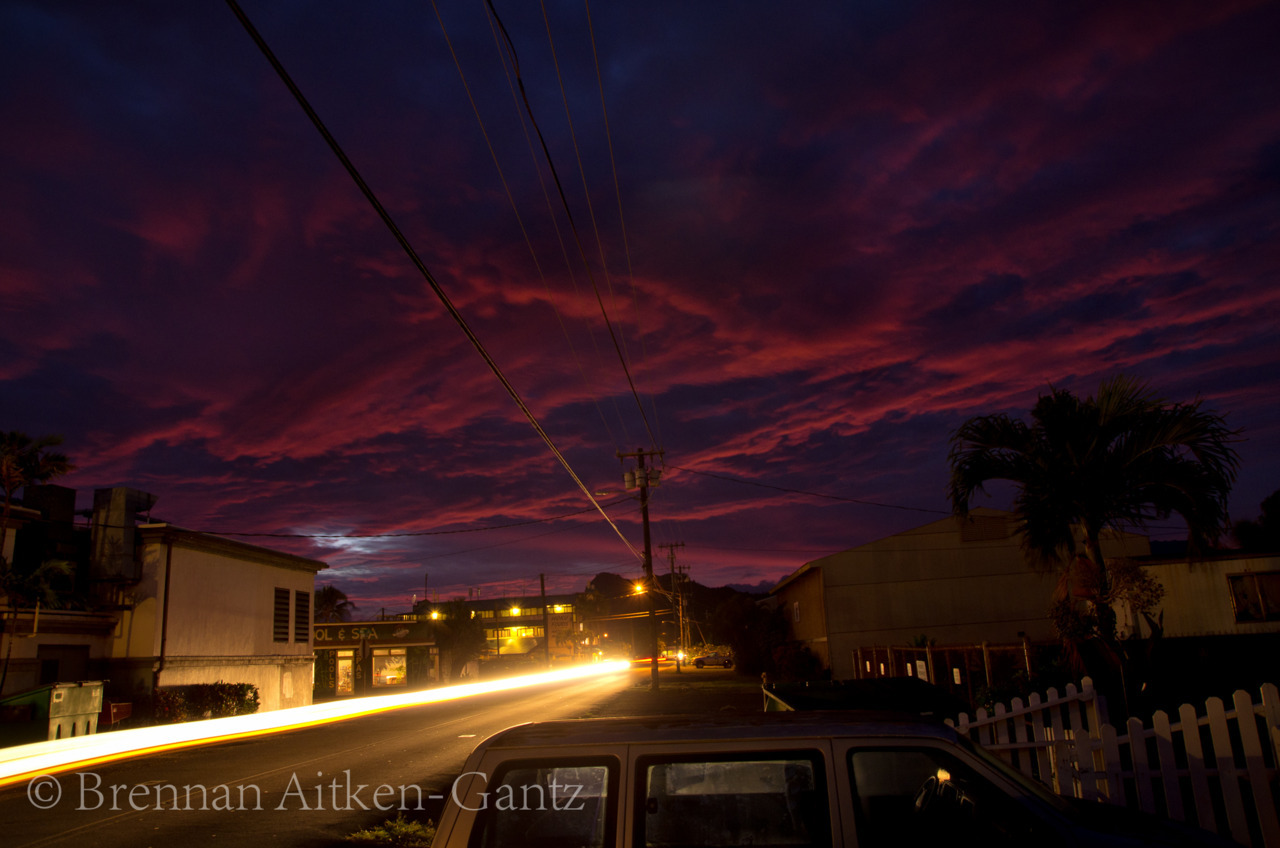 Sunset over the hostel in Kapaa.