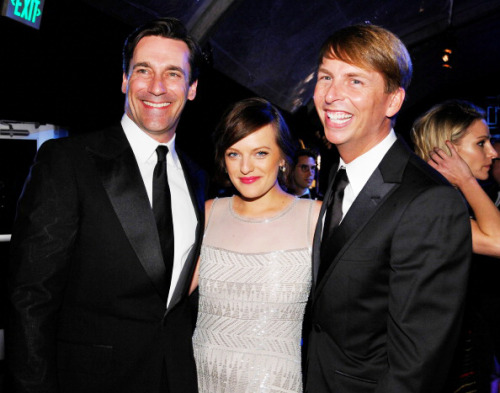 joanieholloways:   Jon Hamm, Elisabeth Moss, and Jack McBrayer at NBC Universal's Golden Globes After Party