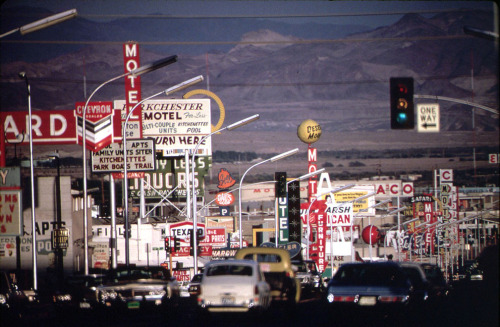 Signs crowd the roadway in this Las Vegas street scene, shot in May of 1972. (Charles O'Rear/NARA)