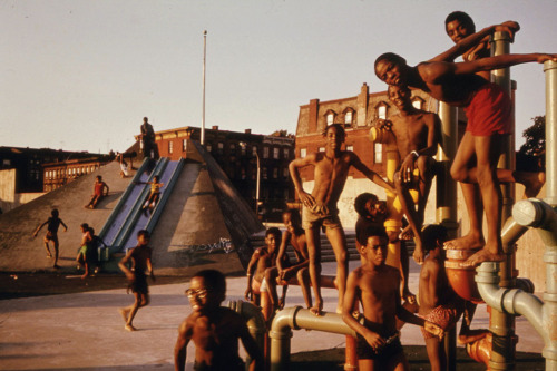 Youngsters on the July 4th holiday at the Kosciusko Swimming Pool in Brooklyn's Bedford-Stuyvesant District, New York City, in 1974.(Danny Lyon/NARA)
