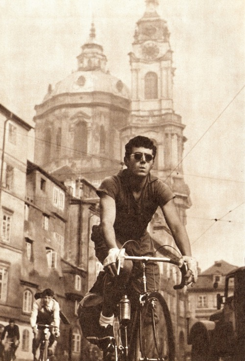 lostandfoundinprague:  Ride a bike through Prague! What a style!/60's/photo by Ladislav Sitensky