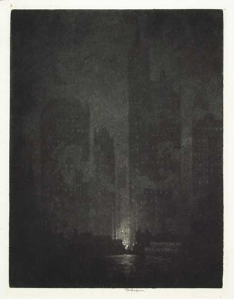 "Joseph Pennell From Cortlandt Street Ferry, 1908 Sandpaper Mezzotint Printed on Antique Paper with stamp seal: ""Timbre Royal 75 cents"" Image: 12 7/8 x 9 7/8 inches Edition: c. 50 Signed in pencil, inscribed 'imp' Wuerth 502 http://www.starr-art.com/exhibits/new_york/"