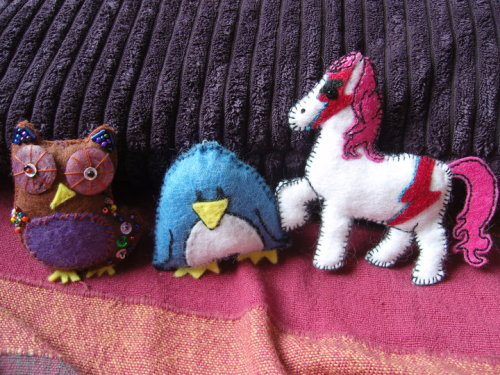 I loved my mother-in-law's plush animals so much I made some for myself. The pony is my sister-in-law's.