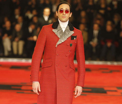 Adrien Brody for Prada AW12 The list of stars who paraded for Prada included Gary Oldman, William Dafoe and Tim Roth…