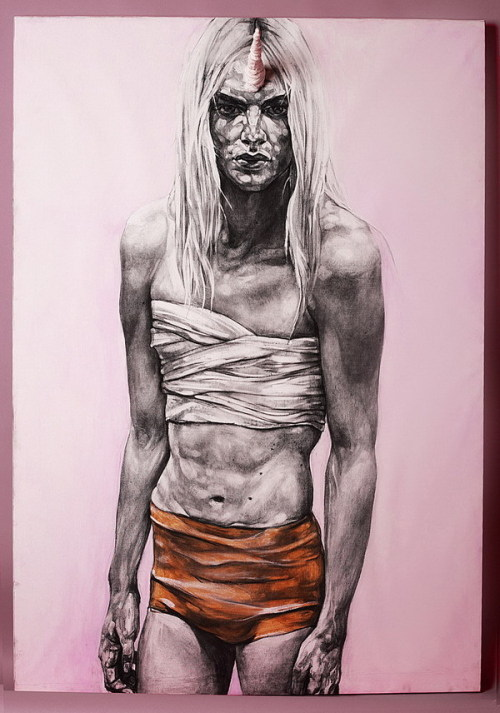 Artist: Andreea Anghel     'My Champion' - Installation, charcoal on canvas + handmade extension. 175x130cm. Modelled by Andrej Pejic. 2011