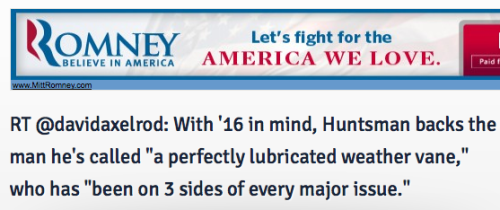Say what you will about Mitt Romney, but no one does ad placement better.