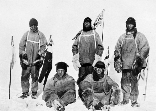 "100 years ago today, Scott and his men reached the south pole, one day after discovering that Amundsen had arrived there first in the previous month.  Bowers and Wilson are seated; standing behind them are Oates, Scott and Evans. This is a haunting photo. The men look exhausted, dejected, wasted. They now need to turn north and back towards safety. Scott wrote in his diary:  ""Great God! This is an awful place and terrible enough for us to have laboured to it without the reward of priority. Well, it is something to have got here, and the wind may be our friend tomorrow."""