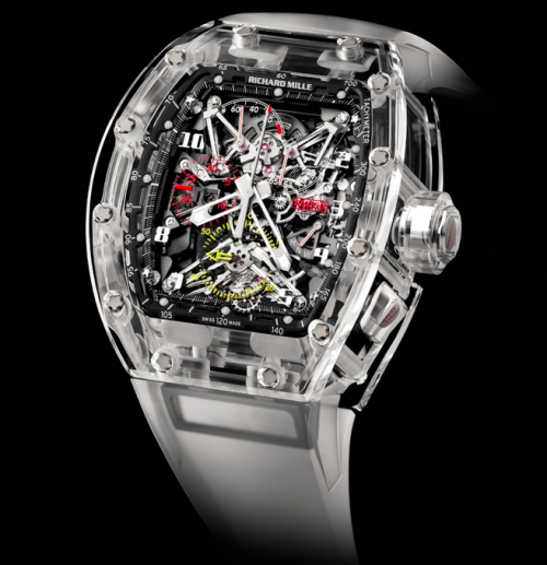 The Richard Mille RM056.  A split-seconds chronograph tourbillon encased completely in sapphire.  Five will be made. Cost? $1.65 million. For the full story, click here.