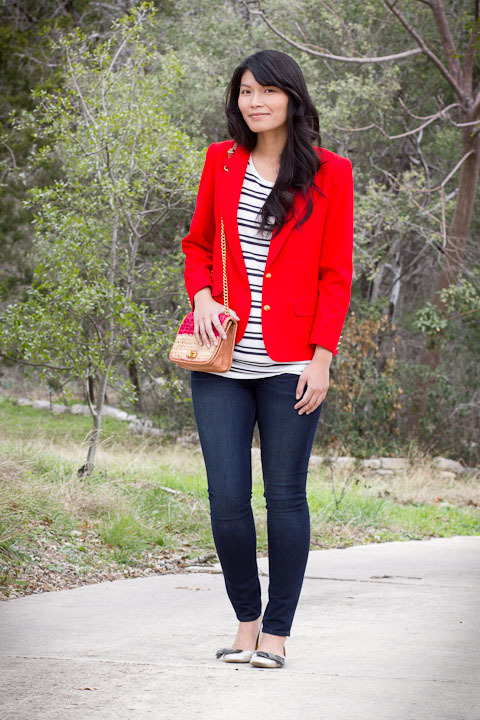 2012. miss america.  vintage wool pendleton blazer. forever 21 tee. verdugo leggings by paige. lulu flats by j.crew. rebecca minkoff baby belle bag. this isn't the date outfit that i planned for M's birthday, but it was the best a sick girl could do. early friday morning, i came down with a stomach bug, and coupled with a cold, i felt pretty awful. on saturday night, we went out for udon noodles (which calmed my tired, hungry tummy). i wore the same outfit yesterday for our usual sunday errands. sometimes style isn't about planning ahead or feeling inspired. it's about taking what works and wearing it again. on the bright side, i'm feeling good enough to bake a belated birthday cake! the look | similar blazer | similar tee | jeans | similar flats