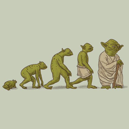justinrampage:  Terry Fan's humorous new Yoda evolutionary chart traces the Jedi Master back to his frog days. Hop on over to Society6 for prints, cases and clothing. Related Rampages: Dark Side of The Forest (More) Yodalution by Terry Fan (Society6) (Flickr) (Facebook)