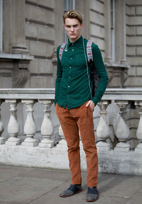 dark green shirt + orange brown trousers  www.gentleman-forever.tumblr.com