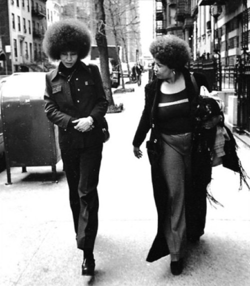 Walking (her)story. Toni Morrison and Angela Davis taking a stroll in New York. They were on their way to editing Angela's autobiography.