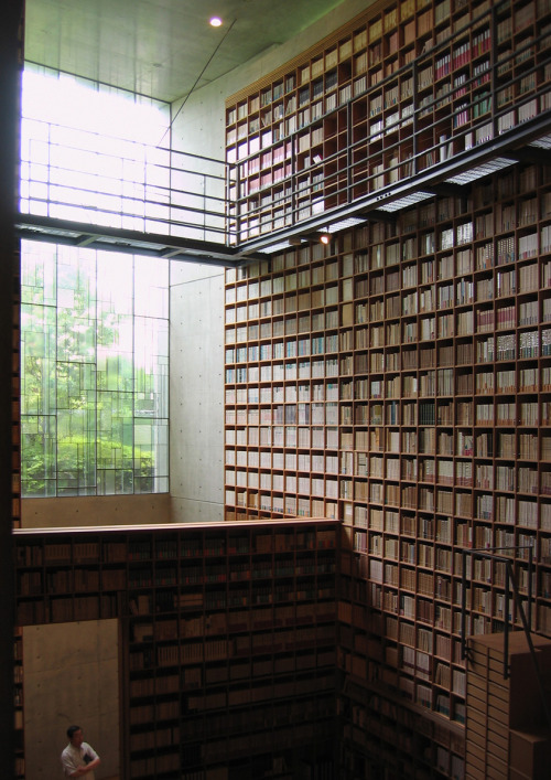 bookmania:  Library at the Shiba Ryōtarō Memorial Museum by Tadao Ando. (via teachingliteracy)