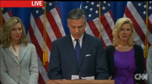 "Happening now: Jon Huntsman's suspending his campaign. ""Today I am suspending my campaign for the presidency."" He just endorsed Mitt Romney."