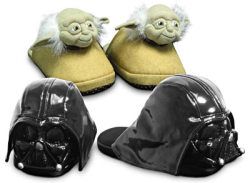 Tacky Yoda and Darth Vader slippers, these giant slippers are the kind my nan used to buy us every christmas. Giant rabbits you put for whole foot into the stomach of, massive pink glittered claws so thick you lost all sense of balance. If you survived getting down the stairs christmas morning in the festive pair of death shoes you won. You won life for another year. And of course the chance to fake delight to my lovely nan for said slippers. x