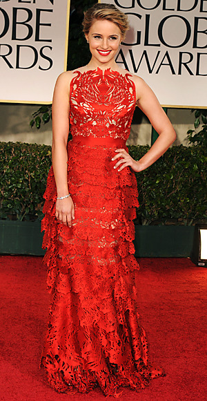 @DiannaAgron in Giles Deacon designed gown